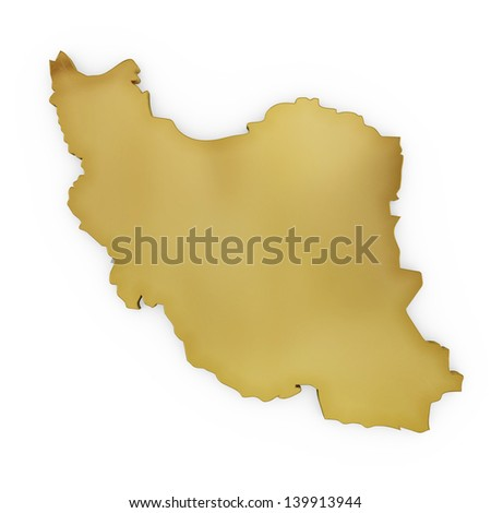 The photrealistic golden shape of Iran isolated on white (series) . The rendering even has tiny scratches - stock photo