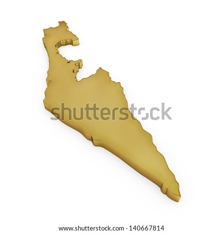 The photrealistic golden shape of Israel isolated on white (series) . The rendering even has tiny scratches - stock photo
