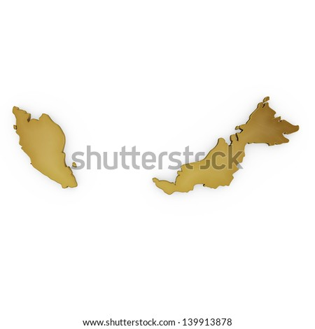 The photrealistic golden shape of Malaysia isolated on white (series) . The rendering even has tiny scratches - stock photo