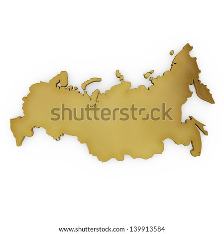 The photrealistic golden shape of Russia isolated on white (series) . The rendering even has tiny scratches - stock photo
