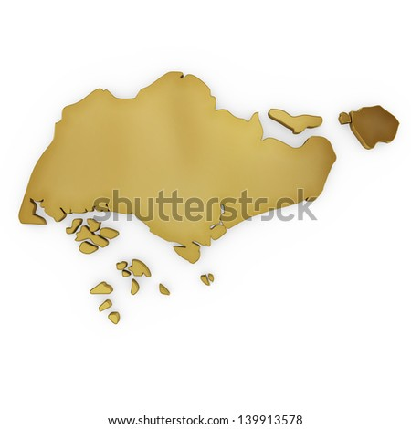 The photrealistic golden shape of Singapore isolated on white (series) . The rendering even has tiny scratches - stock photo