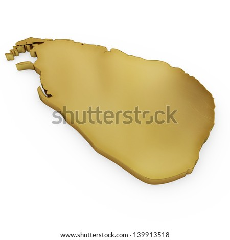 The photrealistic golden shape of Sri Lanka isolated on white (series) . The rendering even has tiny scratches - stock photo