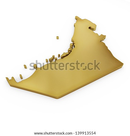 The photrealistic golden shape of United Arab Emirates isolated on white (series) . The rendering even has tiny scratches - stock photo