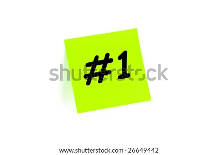 "The phrase ""#1"" on a post-it note isolated in white - stock photo"