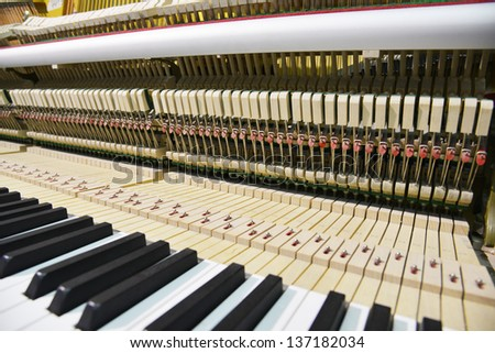 The piano inside without cover. - stock photo
