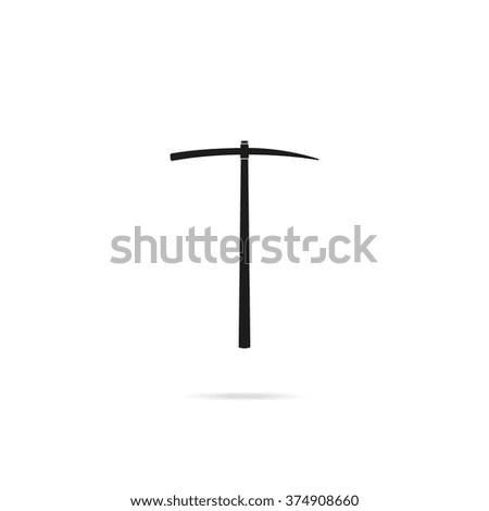 The pick icon. Pickaxe flat symbol. - stock photo