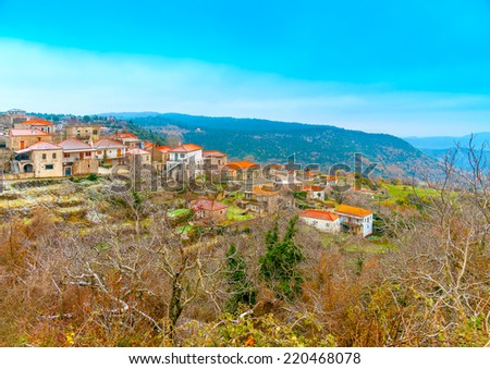 The pictorial Kosmas village in southern Peloponnese in Greece - stock photo