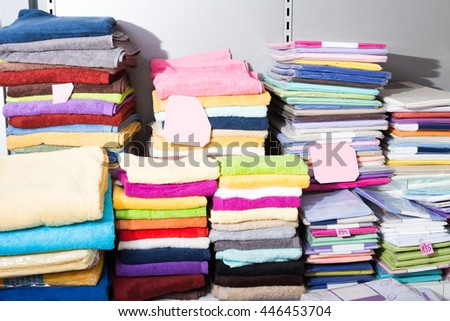 The picture of loop towels in  textile shop