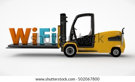 the picture of the forklift driven by a touchscreen phone with Wi Fi icon, side view, white background, 3D rendering