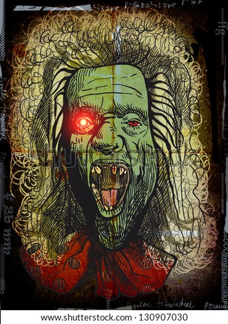 The picture on the theme of underground comics. German-Austrian supernatural talking head -  Drawing in colors and black outlines, dark grunge. (Hand drawing)