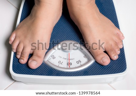 The picture show behavior of people who attend to better healthy life by daily weight monitoring - stock photo