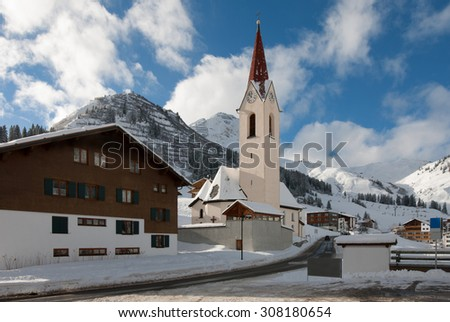 The picturesque alpine village of Warth-Schröcken, in Austria