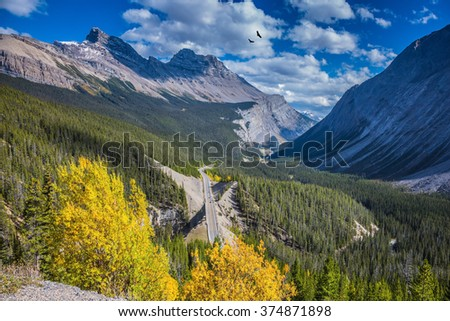 The picturesque canyon in sunny autumn day. At the edge of canyon takes excellent highway. Canadian Rockies, Banff National Park - stock photo
