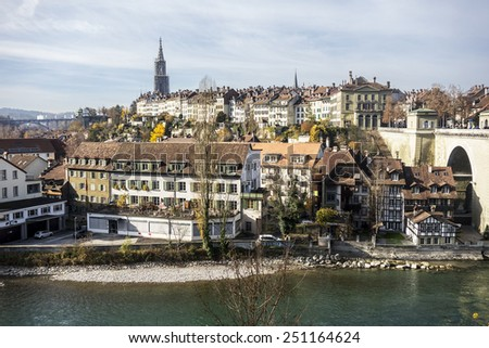 The picturesque city of Bern as viewed from across the River Aare. Bern is the capital city of Switzerland. - stock photo