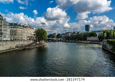 The picturesque embankments of the Seine River in Paris, France.