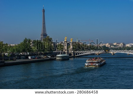 The picturesque embankments of the Seine River. Paris, France. - stock photo
