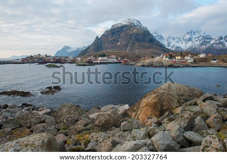 The picturesque fishing village of A, Lofoten Islands, Norway - stock photo
