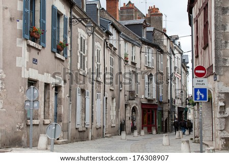 The picturesque street in Blois old town. Loire valley, France