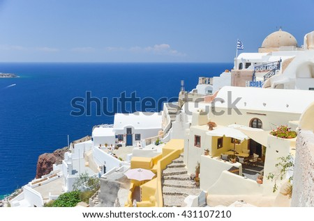 The picturesque town on the hillside on the island of Santorini
