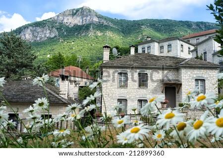 The picturesque village of Aristi in Zagori area, northern Greece - stock photo