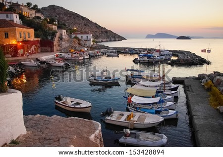 The picturesque village of Hydra island, Greece, at dusk  - stock photo