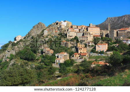 The picturesque village of Speloncata in the Balagne region, Corsica, France.