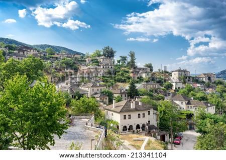 The picturesque village of Vitsa in Zagori area, northern Greece - stock photo