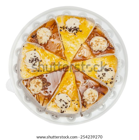 The pie, cake with cream and chocolate, two types of glaze isolated on the white - stock photo