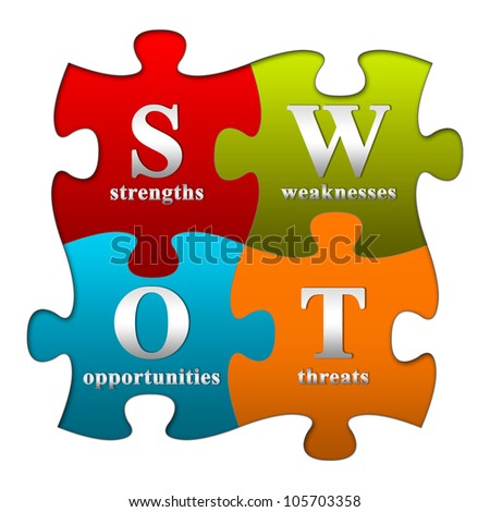 The 4 Pieces Colorful SWOT Puzzle With Metallic Text Style Isolated On White Background - stock photo