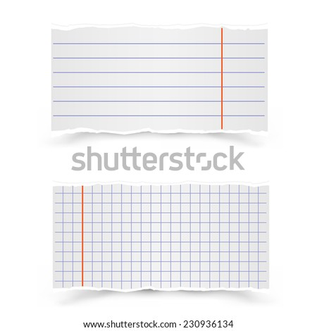 The pieces in the strip and in the cage of school notebooks on a gray background - stock photo