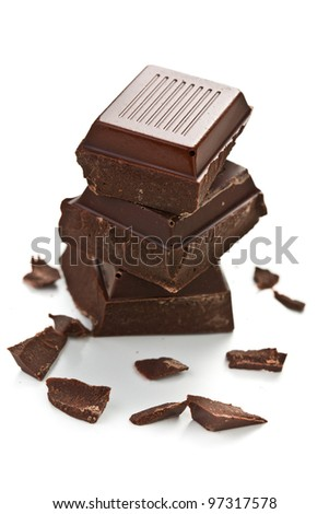 the pieces of dark chocolate