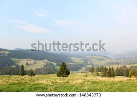 The Pieniny mountain range. Panorama of Valley of White Water in Pieniny mountain in early autumn at sunrise, Poland