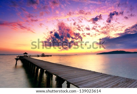 The pier and beautiful sky - stock photo