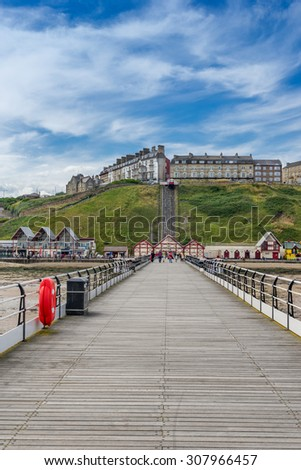 The pier on Saltburn beach in north Yorkshire