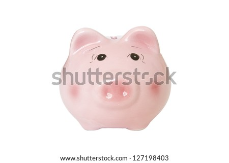 The piggy bank on white background.