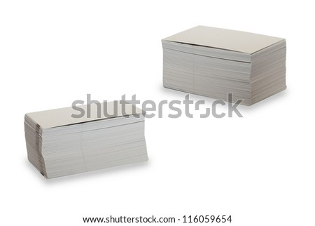 The pile of blank business cards lays on white background with clipping path - stock photo