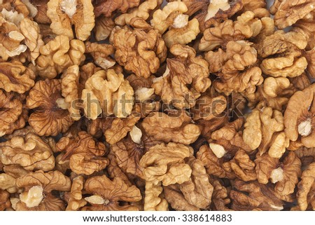 The pile of walnuts kernels. Close up.
