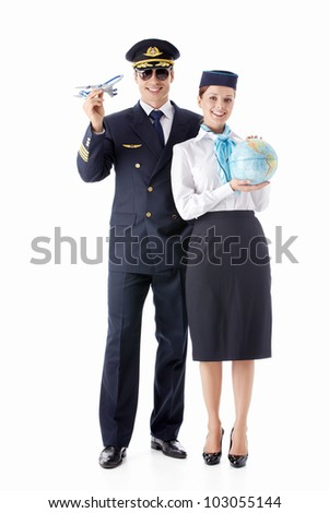 The pilot and flight attendant on a white background - stock photo