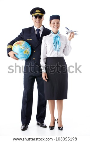 The pilot and stewardess with a globe on a white background