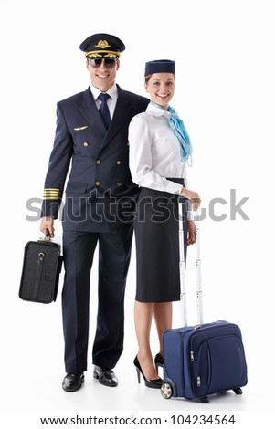 The pilot and stewardess with a suitcase on a white background - stock photo