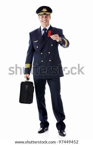 The pilot of a suitcase and a credit card on a white background