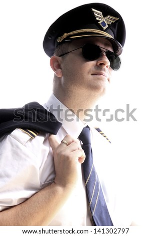 The pilot of the aircraft on a white background