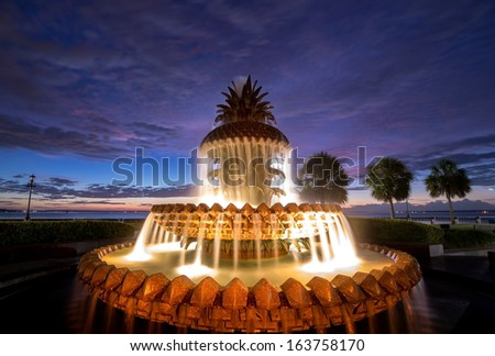 The Pineapple Fountain in downtown historic Charleston, South Carolina - stock photo