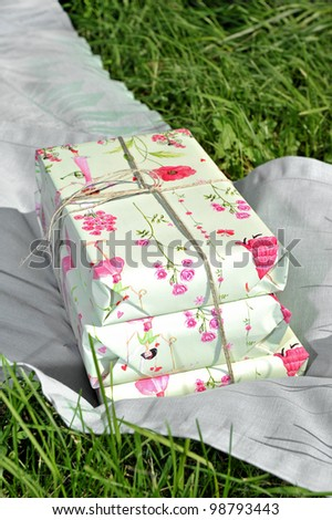 The pink gift on the grass