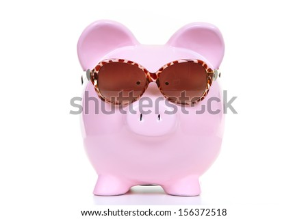 The pink  pig bank on a white background - stock photo
