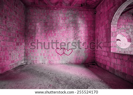 The Pink room in an abandoned building - stock photo