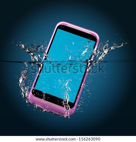 The pink smartphone fallen in water. 3D-model. - stock photo