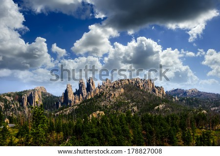 The Pinnacles, a rock formation at Custer State Park, South Dakota - stock photo