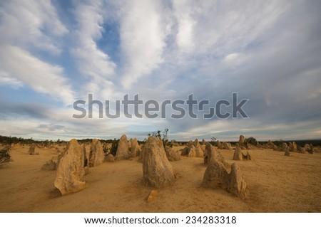 The pinnacles desert at sunset, Nambung National Park, Western Australia - stock photo