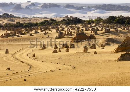 The Pinnacles Desert in Nambung National Park, Western Australia. - stock photo